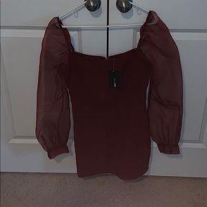 Burgundy dress see-through sleeves